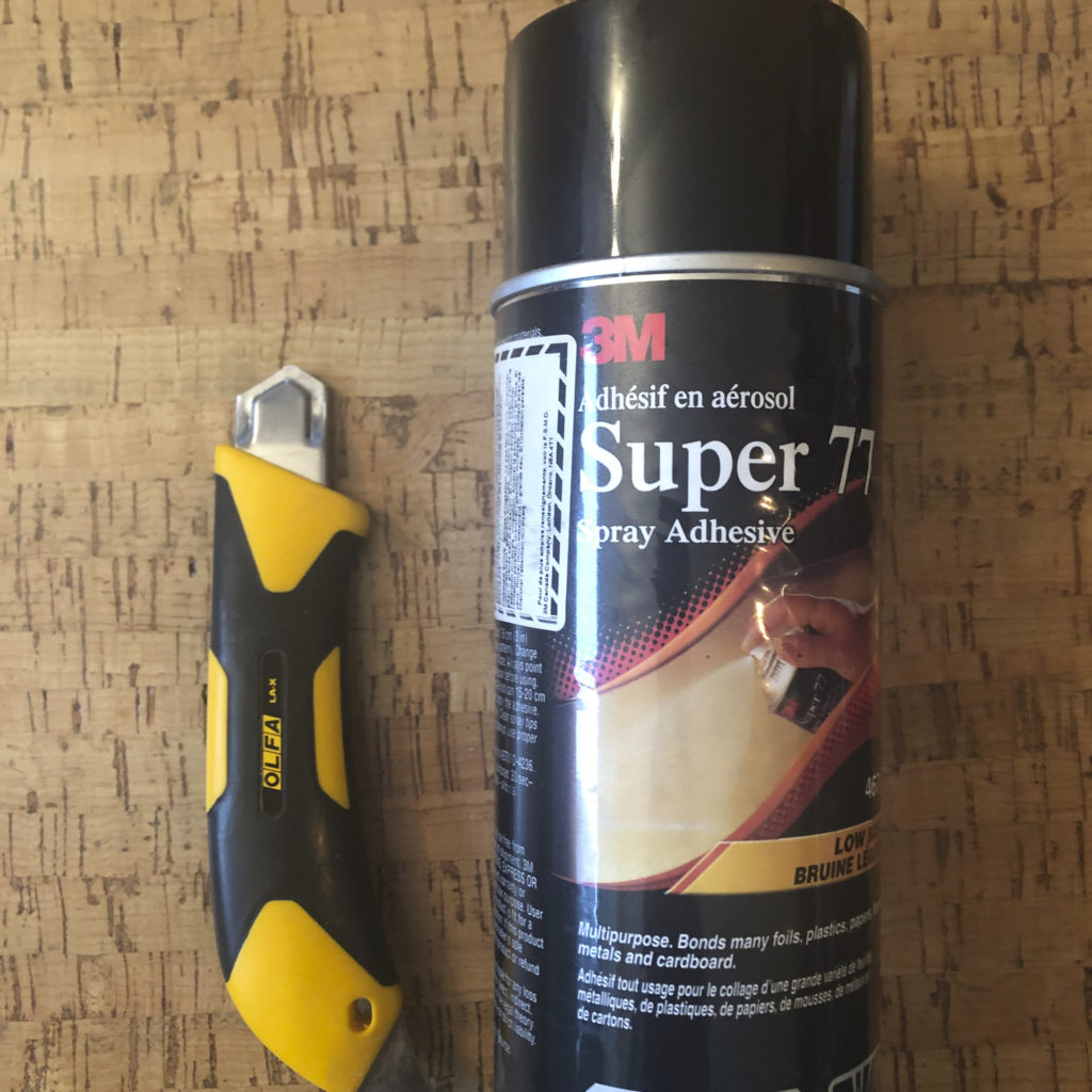 spray glue and knife