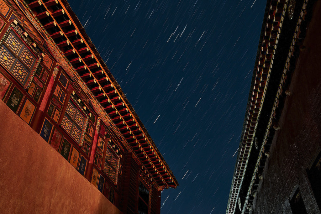 Star trails over Parkhang Printing Press in Dege